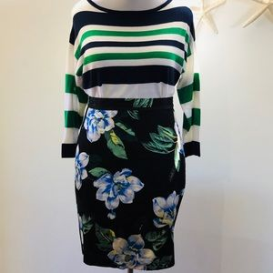 Banana Republic Floral Pencil Skirt Black Blue 12